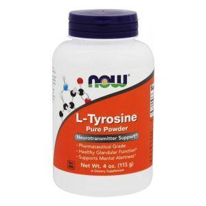 Тирозин, L-Tyrosine, Now Foods, порошок, 113 грамм