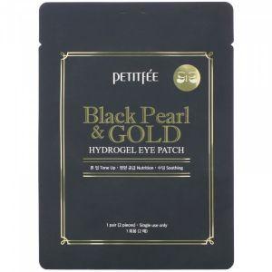 Гидрогелевые патчи для глаз с золотом и черным жемчугом, Black Pearl & Gold Hydrogel Eye Patch, PETITFEE, 1 пара