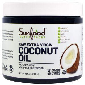 Кокосовое масло холодного отжима, Coconut Oil, Sunfood, 473,2