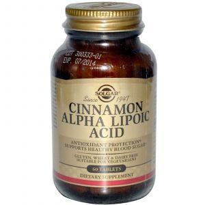 Альфа-липоевая кислота и корица, Solgar, 150 мг, 60 табл