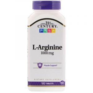 Аргинин, L-Arginine, 21st Century, 1000 мг, 100 таблеток (Default)