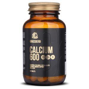 Кальций з витаминами D3, K1 и цинком, Calcium 600, Grassberg, 60 таблеток