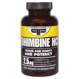 Йохимбин HCl, Primaforce, 2,5 мг, 90 капсул