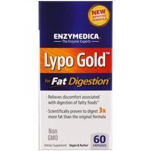 Ферменты для переваривания жиров, Lypo Gold, Enzymedica, 60 капсул