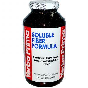 Очищение организма, пищевые волокна, Soluble Fiber Formula, Yerba Prima, порошок, 340 г