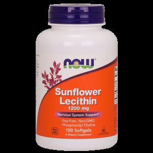 Подсолнечный лецитин, Sunflower Lecithin, Now Foods, 1200 мг, 100 капсул (