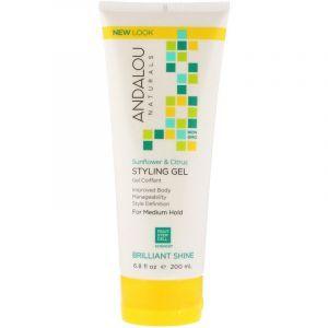 Гель для волос нормальной фиксации, Styling Gel, Andalou Naturals, подсолнечник и цитрус, 200 мл. (Default)