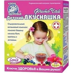 Фиточай Соня, Ключи здоровья, детский, вкусняшка, 20 фильтр-пакетов по 1.5 г