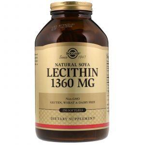 Лецитин, Lecithin, Solgar, 1360 мг, 250 капсул (Default)