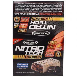 Энергетические батончики со вкусом печенья и крема, Nitro Tech, Muscletech, 12 шт. по 65 г