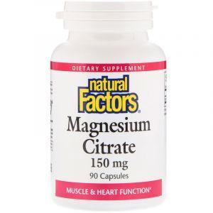 Цитрат магния, Magnesium Citrate, Natural Factors, 150 мг, 90 капсул (Default)