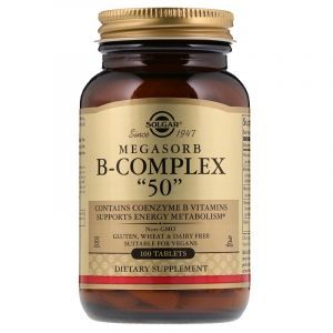 Витамины группы В-50, Megasorb B-Complex, Solgar, комплекс, 100 таблеток (Default)