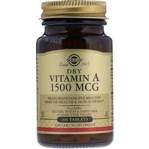 Витамин А, Dry Vitamin A, Solgar, 1500 мкг, 100 таблеток (Default)