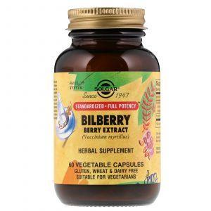 Черника для зрения, Bilberry Berry, Solgar, экстракт, 60 капсул (Default)