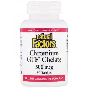 Хром, Chromium GTF Chelate, Natural Factors, 500 мкг, 90 таблеток (Default)