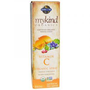 Витамин С, Vitamin C, Garden of Life, Mykind Organics, апельсин-мандарин, органик, спрей, 58 мл