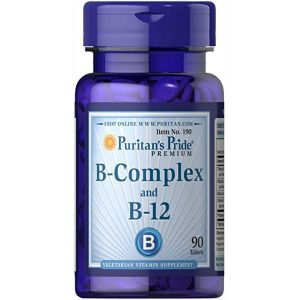 Витамины группы В, Vitamin B-Complex and Vitamin B-12, Puritan's Pride, 90 таблеток