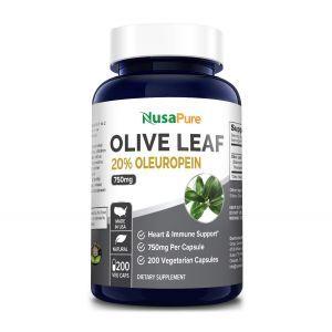 Экстракт оливковых листьев (20% олеуропена), Olive Leaf Extract , NusaPure, 750 мг, 200 вегетарианских капсул