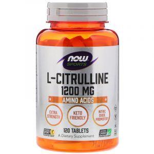 Цитруллин, L-Citrulline, Now Foods, Sports, 1200 мг, 120 таблеток (Default)