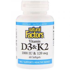 Витамин Д3 и К2, Vitamin D3 & K2, Natural Factors, 60 капсул (Default)