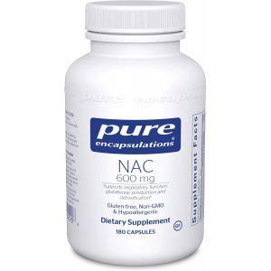 NAC (N-ацетилцистеин) 600 мг, NAC (n-acetyl-l-cysteine) 600 mg, Pure Encapsulations, 180 капсул