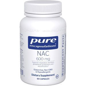 NAC (N-ацетилцистеин), n-acetyl-l-cysteine, Pure Encapsulations, 600 мг, 90 капсул