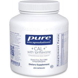 Витамины при остеопорозе + CAL + Ipriflavone, Pure Encapsulations, минеральная, витаминная и травяная добавка для повышения силы скелета, 210 капсул
