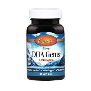 Докозагексаеновая кислота (ДГК), Elite DHA Gems, Carlson Labs, 1000 мг, 30 гелевых капсул