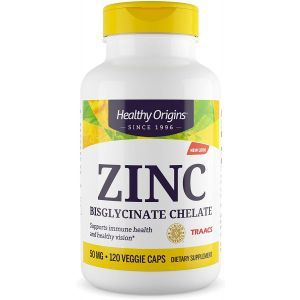 Цинк бисглицинат, Zinc, Healthy Origins, 50 мг, 120 вегетарианских капсул