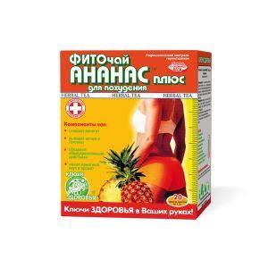 Ананас плюс, Ключи здоровья, фиточай, для похудения,20 пакетиков по 1.5 г