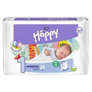 Подгузники Хеппи, Diapers Happy, Bella Baby, размер 1 NewBorn, 2-5 кг, 25 шт