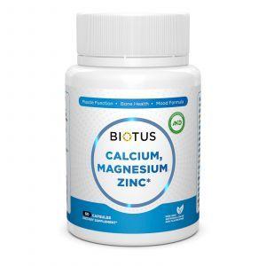 Кальций, магний, цинк и витамин D3, Biotus, 60 капсул