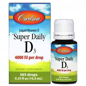 Витамин Д3, Vitamin D3, Carlson Labs, 4000 МЕ, 10,3 мл.