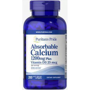 Кальций и витамин Д3, Absorbable Calcium with Vitamin D3, Puritan's Pride, 1200 мг/1000 МЕ, 200 гелевых капсул