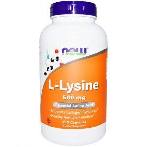 L- лизин, L-Lysine, Now Foods, 500 мг, 250 кап