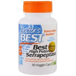 Серрапептаза, Serrapeptase, Doctor's Best, 120,000 SPUs, 90 капс