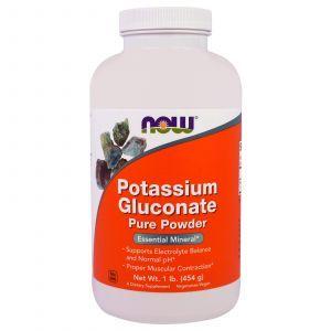 Калия глюконат, Potassium Gluconate, Now Foods, порошок, 454 г