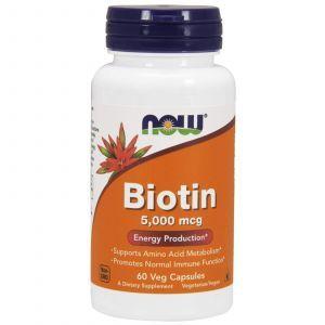 Биотин, Biotin, Now Foods, 5000 мкг, 60 кап