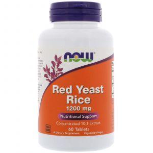 Красный дрожжевой рис, Red Yeast Rice, Now Foods, 1200 мг, 60 табле