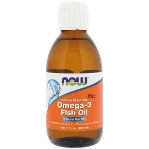 Рыбий жир жидкий, Omega-3 Fish Oil, Now Foods, лимон, 200 м