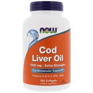 Рыбий жир из печени трески, Cod Liver Oil, Now Foods, 1000 мг, 180 капс