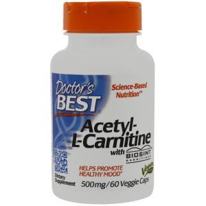 Ацетил карнитин, Acetyl-L-Carnitine HCl, Doctor's Best, 500 мг, 60 капс