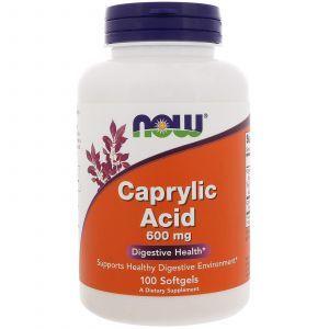 Каприловая кислота, Caprylic Acid, Now Foods, 600 мг, 100 кап