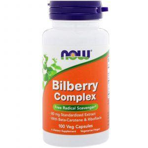 Черника для зрения, Bilberry, Now Foods, комплекс, 100 капс