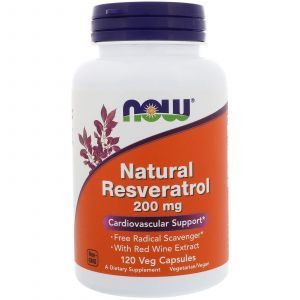 Ресвератрол, Resveratrol, Now Foods, натуральный, 200 мг, 120 кап