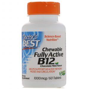 Витамин В12 (метилкобаламин), Active B12, Doctor's Best, мята, 1000 мкг, 60 та