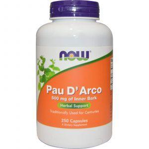 По д'арко, Pau D' Arco, Now Foods, 500 мг, 250 капс