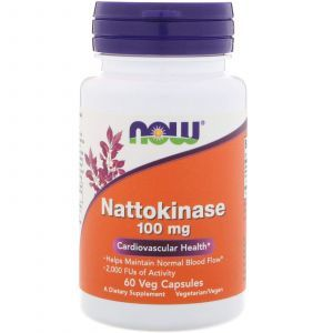 Наттокиназа, Nattokinase, Now Foods, 100 мг, 60 капсу