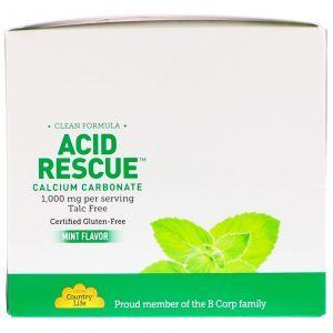 Карбонат кальция со кусом мяты, Calcium Carbonate, Country Life, 1 000 мг, 20 пакетов по 4 жевательных таблетки