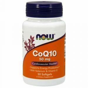 Коэнзим Q10 с селеном и витамином Е, CoQ10, Now Foods, 50 мг, 50 гелевых капсул